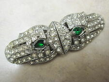 Duette Coro Rhinestones Green Fur Pin Brooch Vintage w/ Frame & Box Two Patents