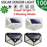 100 LED Solar Motion Sensor Wall Light Outdoor Waterproof Garden Pathway Lamp