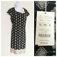 Monsoon Dress, Size 12, BNWT, Black With Cream Embroidery, 100% Cotton, Lined