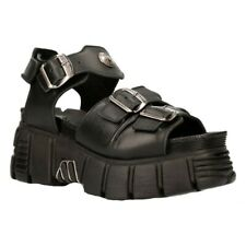 New Rock Boots M-BIOS101-C2 Unisex Metallic Black 100% Leather Sandal Punk Rock