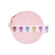 "5 Yard 5/8"" Rainbow Skull Foil Print Pink Foldover Elastic FOE Spandex Band Trim"