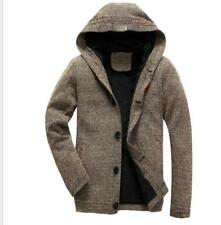 Warm Hooded Mens Long Sleeved Button Casual Coat Cardigan Knitted Sweaters