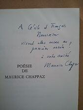 """Maurice CHAPPAZ """" Poésie """" en 3 volumes avec ENVOIS à François NOURISSIER, 1980"""
