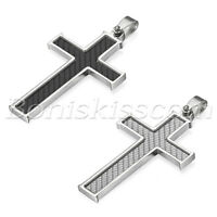 Men's Stainless Steel Carbon Fiber  Religious Cross Pendant Necklace Chain  21""