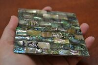 "SQUARE FLAT ABALONE SHELL BLANK INLAY BLACK BACK 4"" x 3"" #6020"