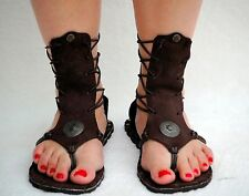 Greek Roman sandals brown real leather sandals size 8.5 to 9 US