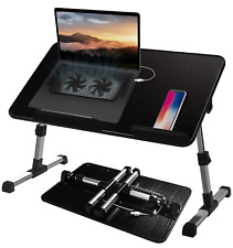 Adjustable Lap Desk With Cooling Fan Proglobe Lapdesk 20x12 Laptop Stand Bed Tv