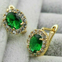 4Ct Oval Emerald Diamond Halo Fine Stud Clip On Earrings 18K Yellow Gold Finish