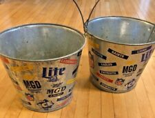 "Vintage Miller NFL Football Metal Buckets 8""X9"" Featuring All Teams 1995 Oilers"