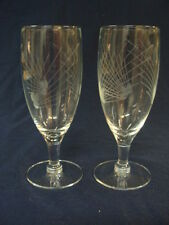 Vintage Cut Wheel Etched Crystal, 2 Champagne Flutes,  Cocktail Glasses