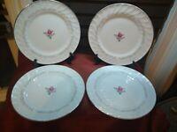 Vintage Royal Swirl Fine China Pink Rose Japan Dinner plates. Set of 4