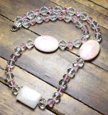 """Pink & White Crystal faceted Ball Jasper Pink Pendants Gemstone Necklace 20"""""""