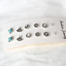 6/9/12pairs Pearl Rhinestone Crystal Ear Stud Earrings Women Fashion Jewelry Set