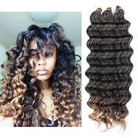 "22"" 80g Crochet Bulk Hair Weft Deep Wave Synthetic Hair Extension Crochet Braids"
