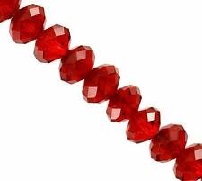 Crystal Beads Ruby Red color Rondelle Glass Bead 8 x 10 mm DIY Craft 130+ pcs