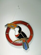 Parrot Stained Glass Window Wall Hanging Sun Catcher Bird Multi Color