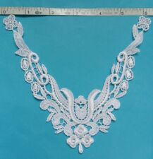 "Vintage White Flowers V-neck Collar Venise Lace Appliques-6.5"" - V0082"