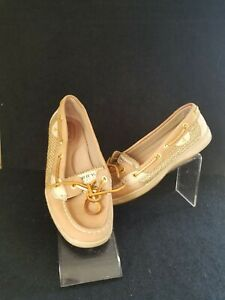 Sperry Top Sider Women's  Boat Deck  Shoes  Beige Gold Accent Size 8M