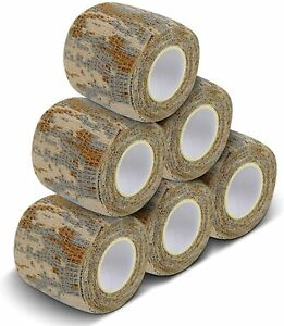 6 Rolls 2'' x 177''Camouflage Cohesive Tape Wrap Protective Stretch Bandage