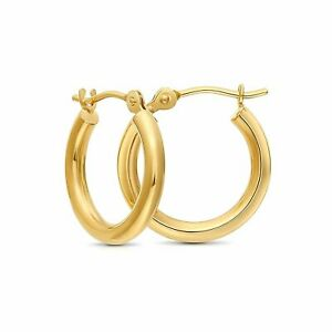 Tiny 14k Solid Gold Extra Small Hoop Earrings (12mm Diameter)