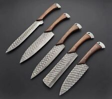Custom 5 Pcs Hand forged Damascus Chef Knives Set Kitchen Knives Set