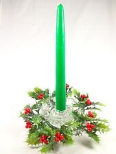 Avon Holiday glass Candle dish w/ bayberry taper wreath design Nwb