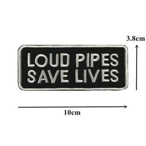 Loud Pipes Save Lives Sew On Biker Patch - US SELLER