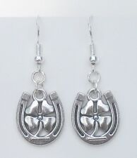 Lucky HORSE SHOE +  4 LEAF CLOVER silver metal & .925 hooks earrings Handcrafted