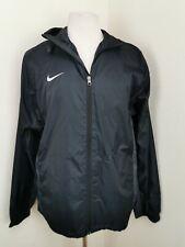Nike Football Jacket  Size L Men Black Dri Fit Hooded Lightweight Rain Coat