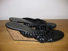 NEW NEXT  BLACK LEATHER WEDGE HEEL  SANDALS / SHOES SIZE 6.5