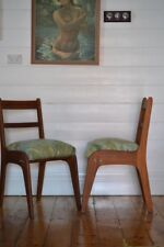 Vintage Mid century wooden chair tropical fern fabric : price for one chair only