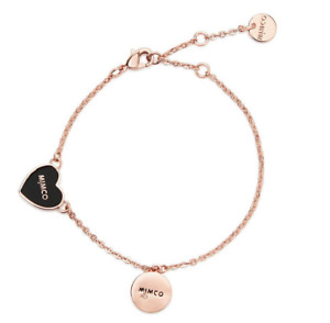 MIMCO Sweetheart Bracelet Black & Rose Gold with extender chain Authentic New