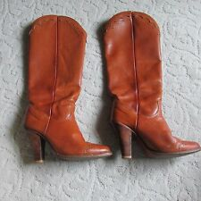 Zodiac Vtg 1970' Ladies Chestnut Leather Western Boots; knee height; size 7M