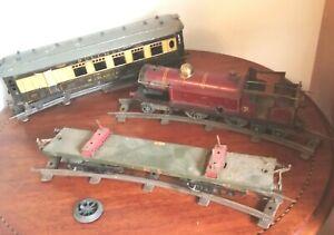 Hornby 'O' gauge LMS 4-4-4 loco, Pullman coach, flat bed wagon & track. Spares