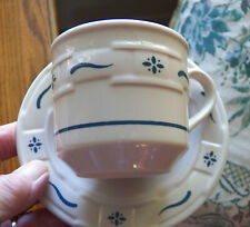 2 Longaberger Classic Blue Woven Traditions Cups and Saucers Usa Excellent