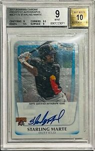 STARLING MARTE ROOKIE 2011 BOWMAN CHROME AUTOGRAPH CARD BGS GRADED 9 PIRATES RC