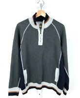 CARBON 2 COBALT Mens 1/4 Zip Pullover Top Sweatshirt Sweater Gray Blue L Large