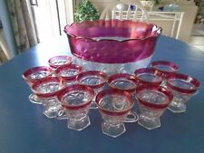 Indiana Glass Lexington Ruby Red Flash Punch Bowl with 12 Pedestal Cups MINT