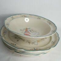 "International Stoneware Marmalade 4 dinner Plates 10.75"" Geese Japan Serving bow"