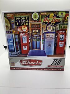 Master Pieces Wheels 750 Piece Jigsaw Puzzle Classic Gas Pumps Mobil Gas Station