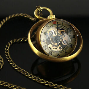 Mechanical Pocket Watch Skeleton Gold Ball Antique Necklace Pendant Chain Gift