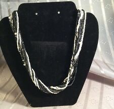 Black Beaded Necklace Multiple Strand White &
