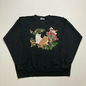 Vintage Endless Design Sweatshirt Cats Kitten Print Black Oversized Top Size XL