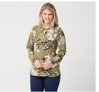 Studio by Denim & Co. Printed Long-Sleeve Top with Keyhole Olive Green, Small