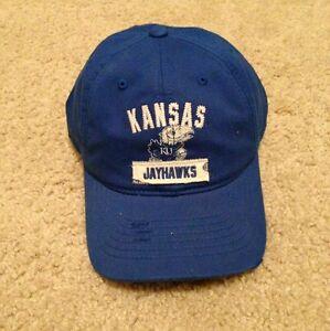 UNIVERSITY OF KANSAS KU JAYHAWKS ADIDAS BLUE HAT CAP VINTAGE RUGGED