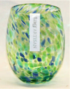 Confetti Stemless Wine Glass Multi Green & Blue - Set of 6 - TAG FREE SHIPPING