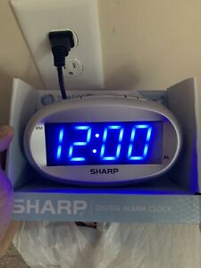 Sharp Digital Electric Alarm Clock Blue Led Large Display - Best Prices On eBay