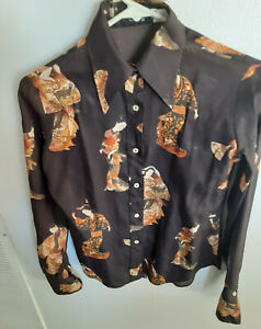 VINTAGE PUCCI BLOUSE, SIZE SMALL  7/8, GEISHA GIRL PATTERN