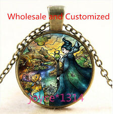 Evil Queen Stained Cabochon bronze Glass Chain Pendant Necklace TS-4918