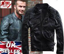 David Beckham Black Motorcycle Real Genuine Leather Jacket -ALL SIZES